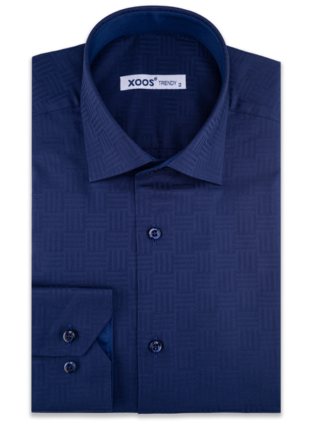 XOOS Men's navy blue geometrical woven patterns cotton dress shirt