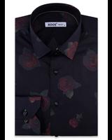 XOOS Chemise homme noire motif floral imprimé