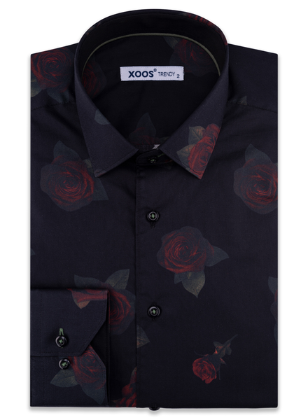 XOOS Men's black floral printed dress shirt