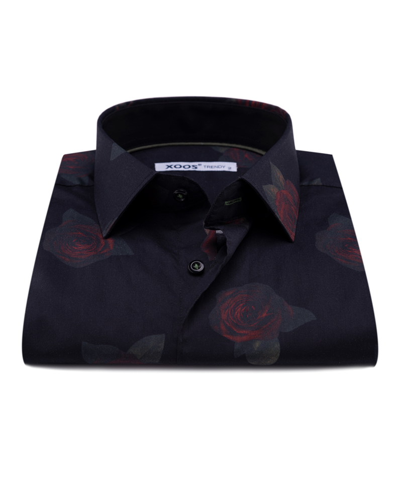 XOOS Men's black floral printed dress shirt