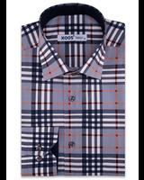 XOOS Gray tartan body dress shirt