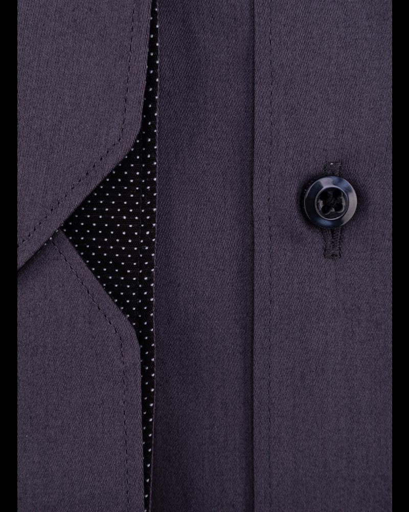 XOOS Chemise homme gris carbone doublure noire à pois