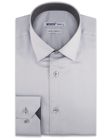 XOOS Men's light gray dress shirt dark gray micro dots lining