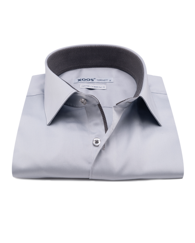 XOOS Men's light gray dress shirt dark gray micro dots lining