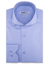 XOOS Men's Light blue fine honeycomb cotton dress shirt (Double Twisted)