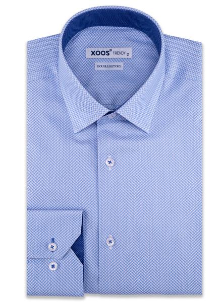 XOOS Men's blue herringbone patterns dress shirt navy micro dots lining (Double Twisted)
