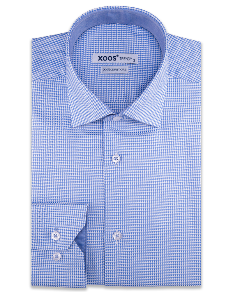 XOOS Men's woven houndstooth blue dress shirt (Double Twisted)