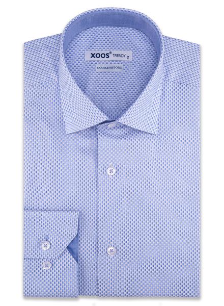 XOOS Chemise homme motifs carrés bleus tissés (Double Retors)