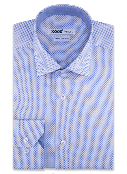 XOOS Men's light blue geometrical woven patterns cotton dress shirt