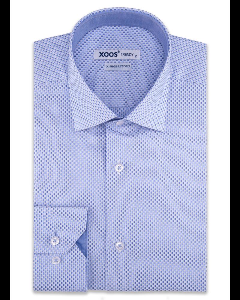 XOOS Men's light blue geometrical woven patterns cotton dress shirt