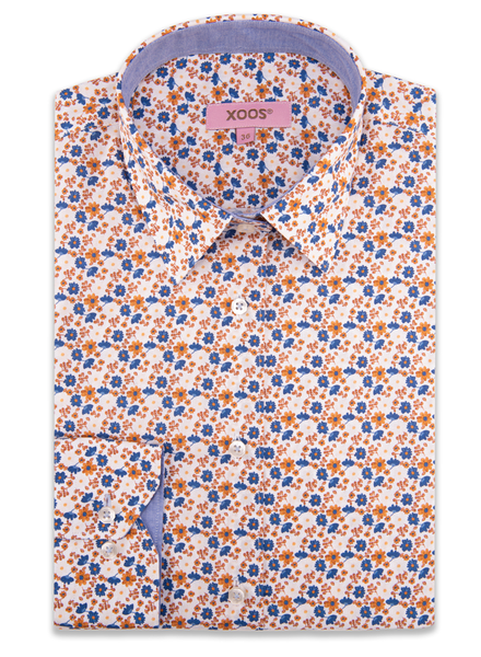 XOOS WOMEN'S orange floral printed dress shirt