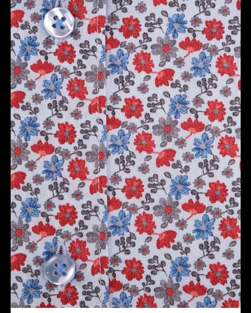 XOOS WOMEN'S red floral printed dress shirt