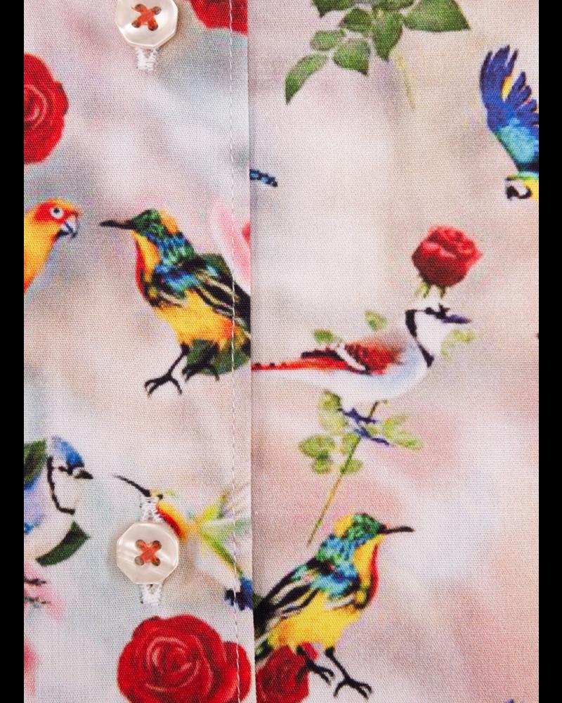 XOOS Chemisier femme rose à motif floral imprimé