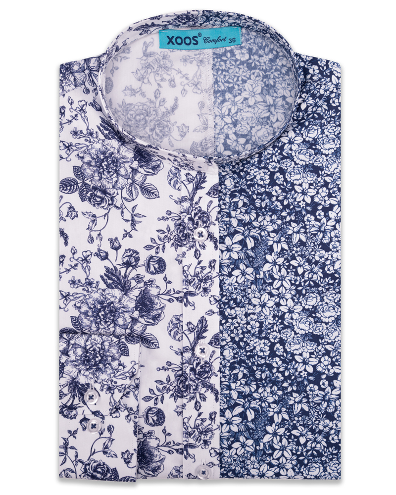 XOOS WOMEN'S navy floral printed blouse with Mao Collar (Comfort cut)