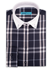 XOOS WOMEN'S navy checked financial blouse (Comfort cut)