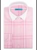 XOOS Chemisier femme style Financier à carreaux rose (Coupe confort)