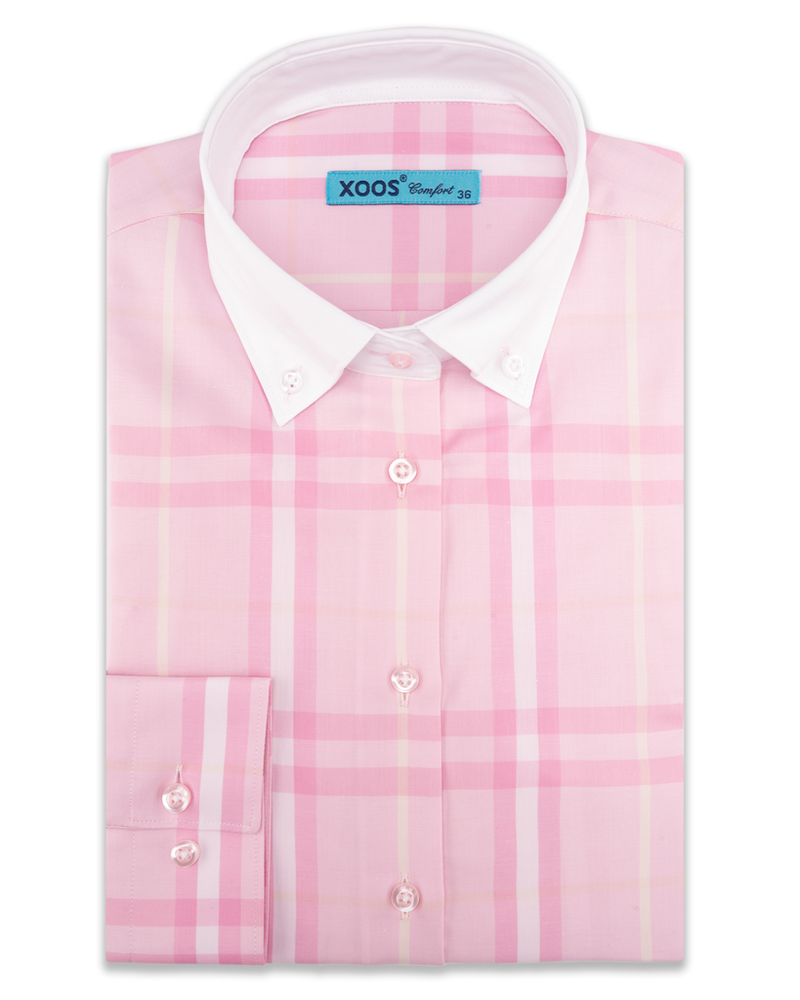 XOOS WOMEN'S navy checked pink blouse (Comfort cut)