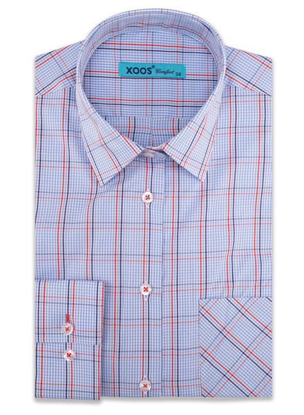 XOOS WOMEN'S lightblue dress shirt with red checks (Comfort cut)