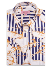 XOOS WOMEN'S blue striped dress shirt with sailor prints
