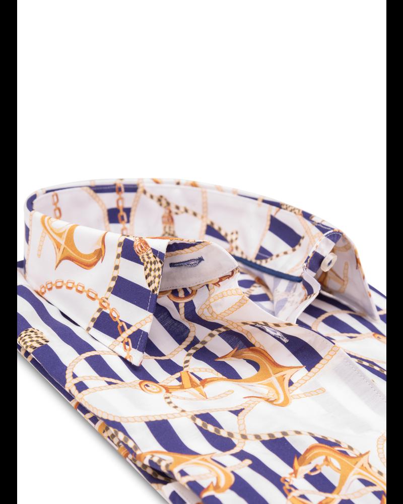 XOOS WOMEN'S blue striped dress shirt with sailor prints