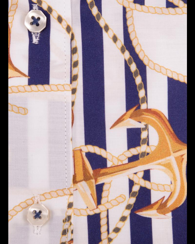 XOOS Chemisier femme à rayures bleues et imprimé sailor