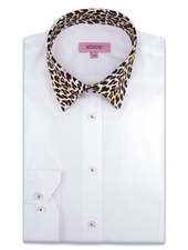 XOOS WOMEN'S white dress shirt and Leopard collar