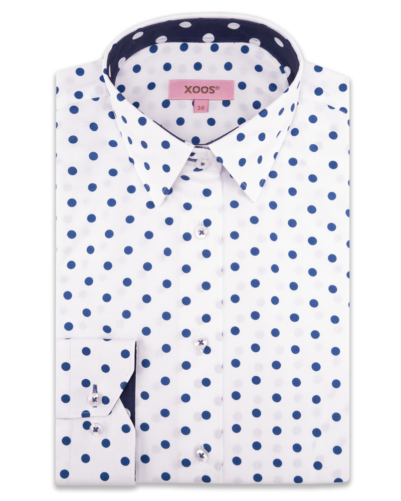 XOOS WOMEN'S white dress shirt with navy polka dots