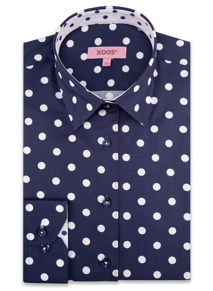 XOOS WOMEN'S navy dress shirt with white polka dots