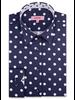 XOOS WOMEN'S navy dress shirt with white polka dots