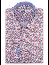 XOOS Men's red floral print dress shirt chambray lining