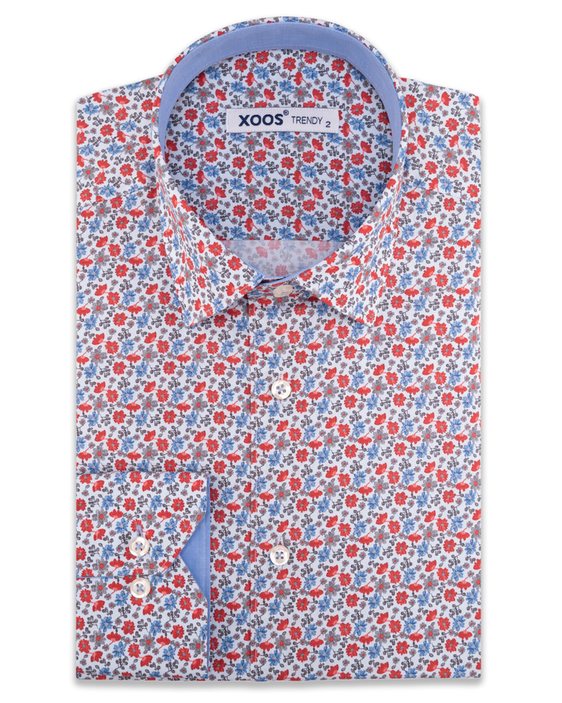 XOOS Men's red floral print dress shirt chambray lining