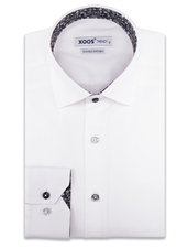 XOOS Men's white dress shirt black floral lining and matching buttons (Double Twisted)