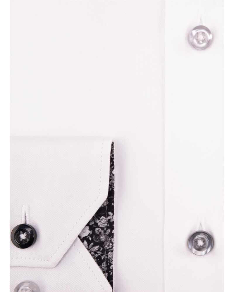 XOOS Chemise homme blanche doublure à florale noire (Double Retors)