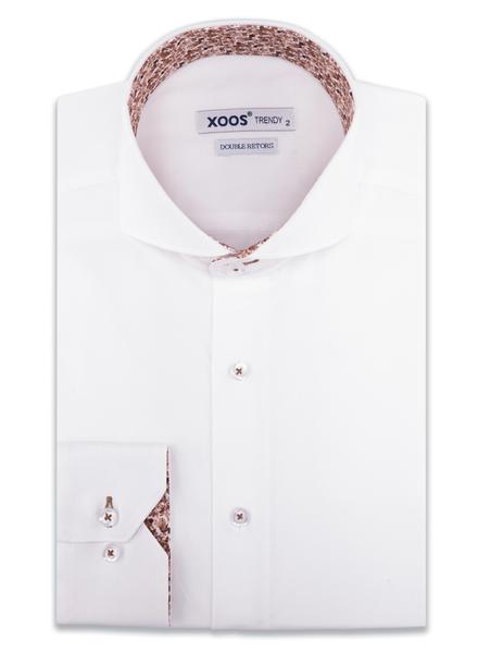 XOOS Chemise homme blanche col Full Spread doublure florale brune (Double Retors)
