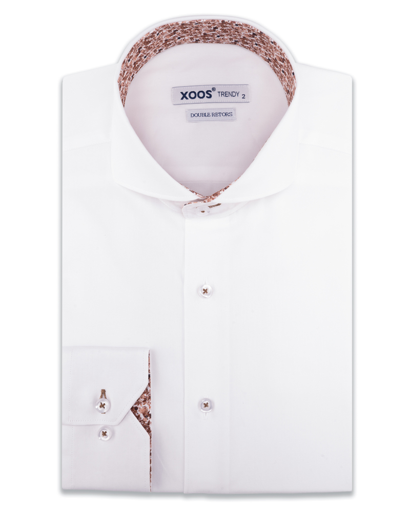 XOOS Chemise homme blanche col Full Spread doublure florale brune (Double Retors)