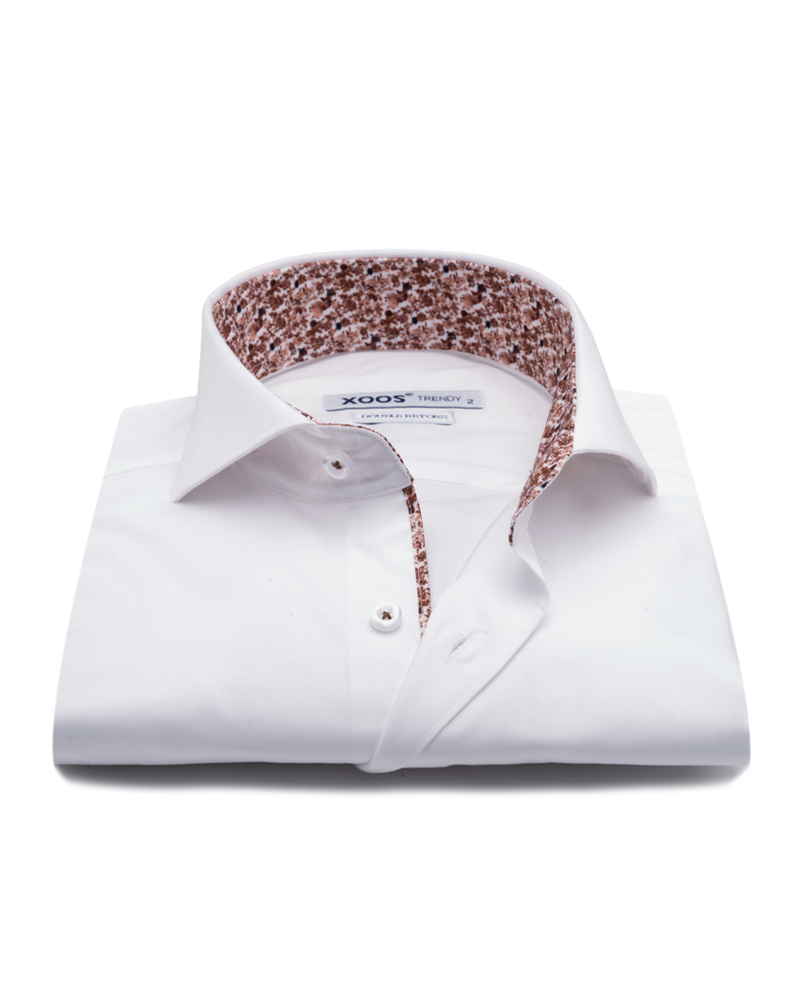 XOOS Men's white Full Spread collar dress shirt brown floral lining (Double Twisted)