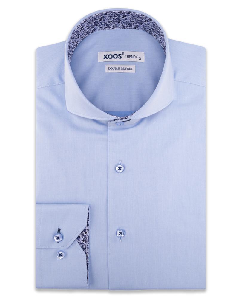 XOOS Chemise homme bleu ciel col Full Spread et doublure florale (Double Retors)