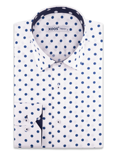 XOOS Men's white dress shirt navy polka dot print