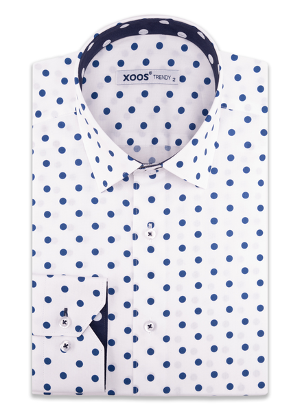 XOOS Men's white dress shirt navy polka dot print