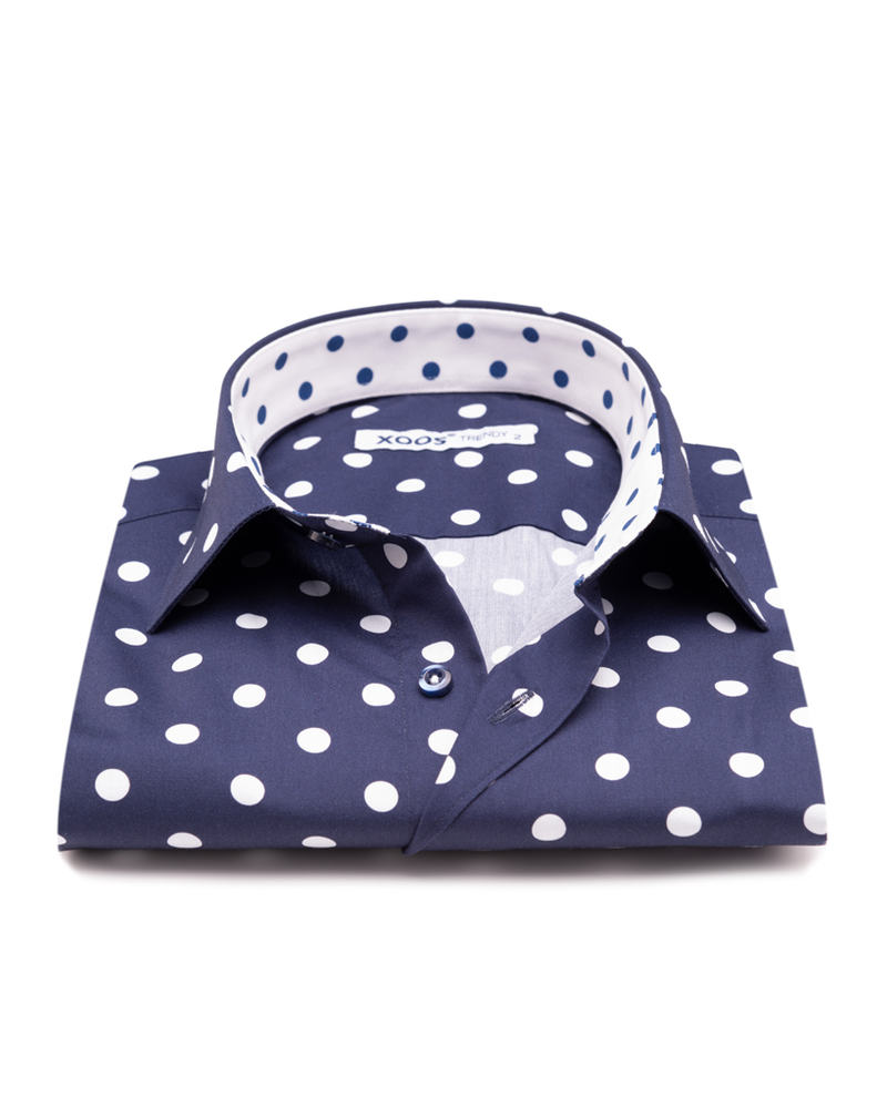 XOOS Men's navy dress shirt white polka dot print