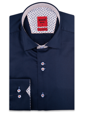 XOOS Men's navy  double chest buttons dress shirt with printed lining