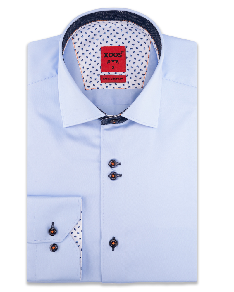 XOOS Men's light blue  double chest buttons dress shirt with polka dots lining