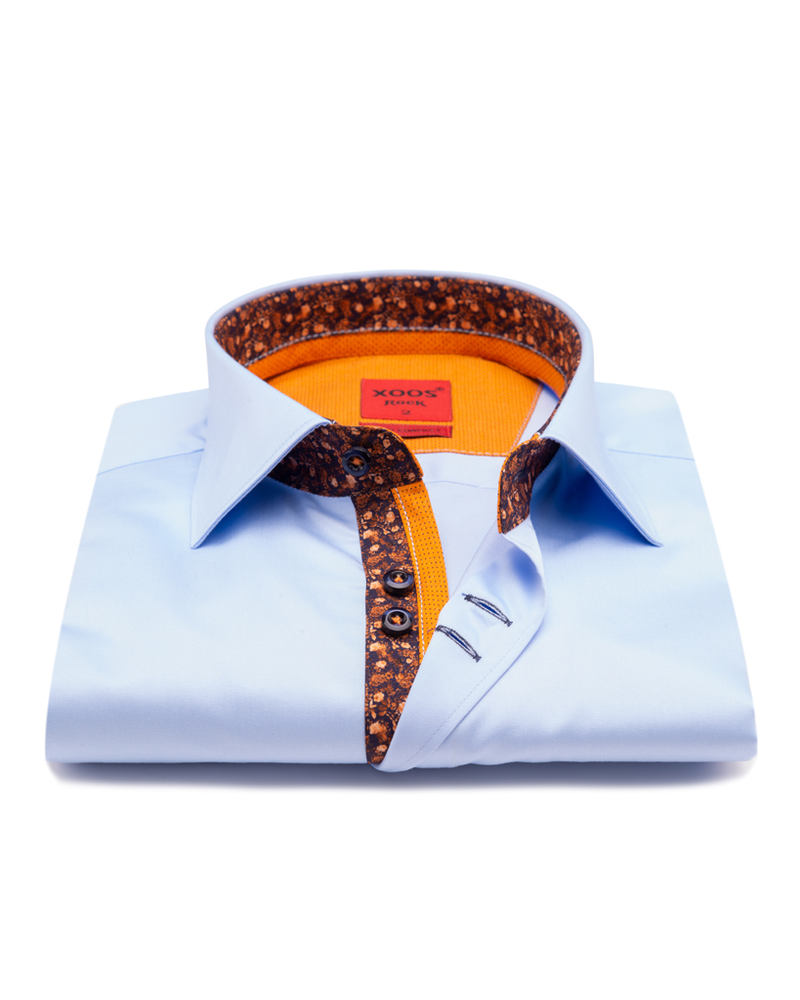 XOOS Men's light blue  double chest buttons dress shirt with orange floral lining
