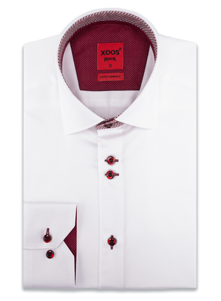 XOOS Chemise homme blanche à double boutonnage doublure à motifs bourgogne