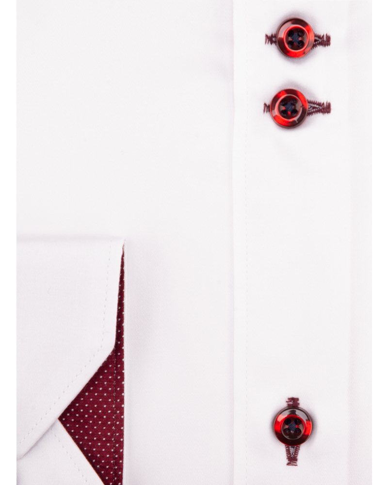XOOS Men's white double chest buttons dress shirt with burgundy print lining