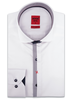 XOOS Men's white dress shirt Half hidden navy polka dots placket
