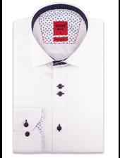 XOOS Chemise homme blanche à double boutonnage doublure à micro pois marine