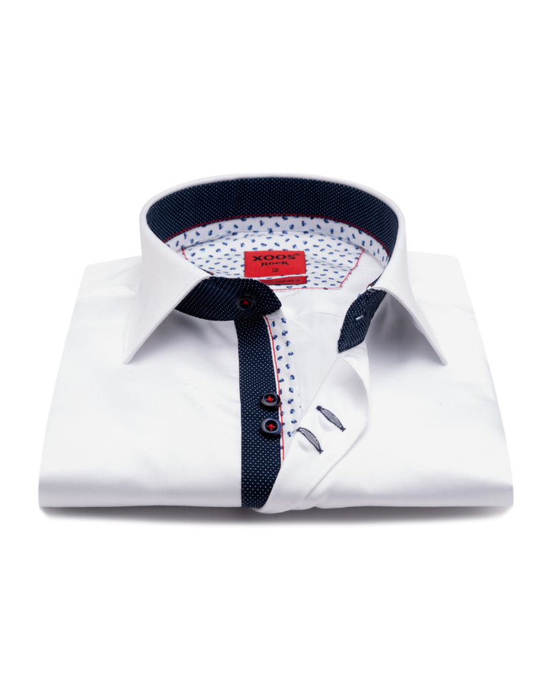 XOOS Men's white double chest buttons dress shirt with navy polka dots lining