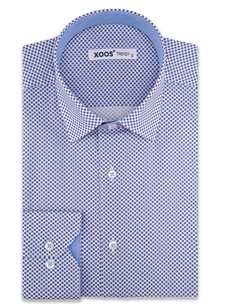 XOOS Men's blue printed dress shirt chambray lining