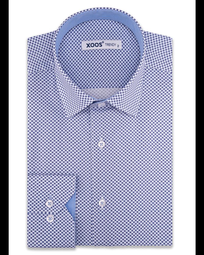 XOOS Men's blue printed dress shirt chambray lining